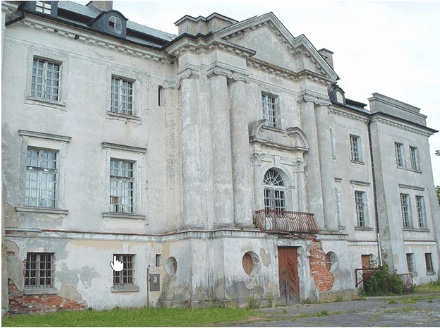 1995 r. zdewastowany Pałac Komierowo po upadku PGRów
