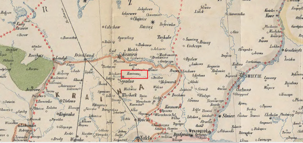 Komierowo - mapa z czasów Piastów